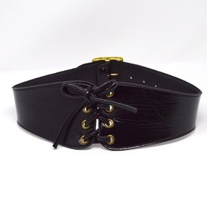 Garay Black Patent Leather Cummerbund Women's Belt